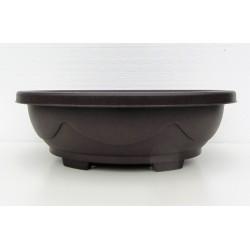Pot ovale marron en polypropylène 42x34x14cm.