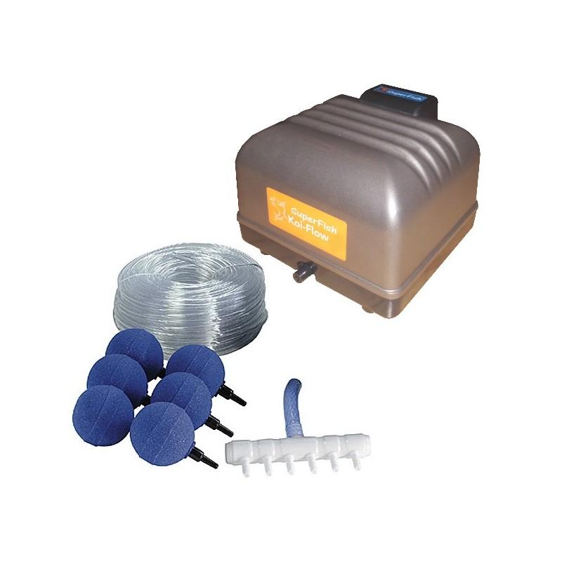 Kit d 39 a ration koi flow 30 kit air complet pour bassin for Kit bac a poisson