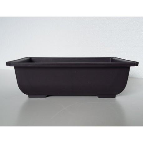 Pot rectangulaire brun en polypropylène 20x14x6cm.