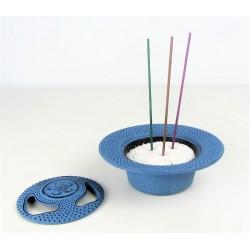 Brule-encens japonais en fonte Iwachu - bleu clair