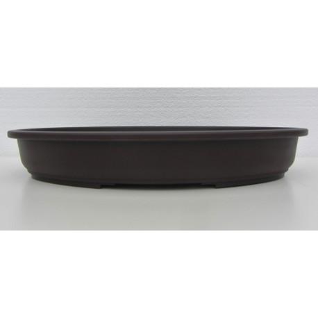 Pot ovale marron en polypropylène 40x28x6cm.