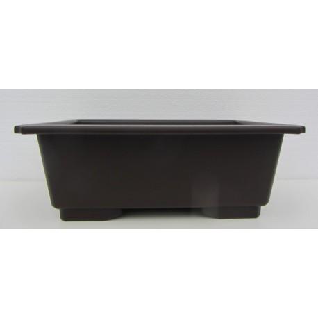 Pot rectangulaire brun en polypropylène 38x26.5x12cm.