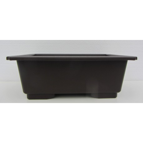 Pot rectangulaire brun en polypropylène 45x32x14cm.