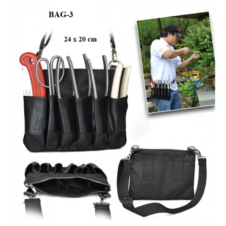 Porte outils  en cuir - 6 outils + pochette avec fermeture (vide)